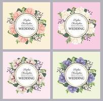 Conjunto de convite de casamento com molduras circulares florais