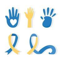 dia mundial da síndrome de down. impressões de mãos e fita de consciência