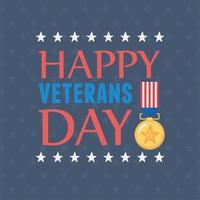 Feliz Dia dos Veteranos. medalha de inscrição e emblema da bandeira