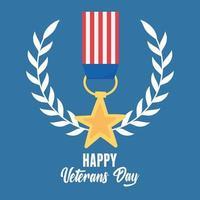 Feliz Dia dos Veteranos. estrela medalha emblema memorial