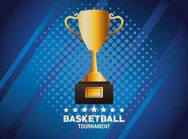 banner torneio de basquete com troféu