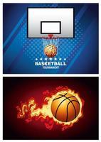 conjunto de banner do torneio de basquete