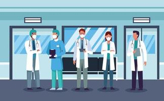 grupo de médicos mascarados, funcionários do hospital vetor