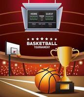 banner de torneio de basquete com bola e troféu