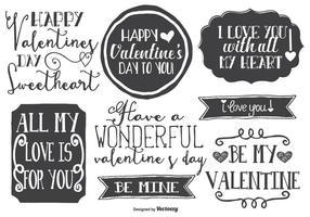 Etiquetas do Dia Estilo Namorados bonitos desenhados mão vetor