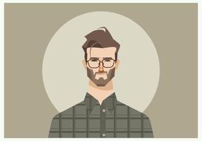 Homem novo com óculos e camisa da flanela Vector