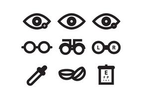 Conjunto de ícones do dente do olho vetor