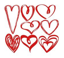 Corações tirados mão do vetor