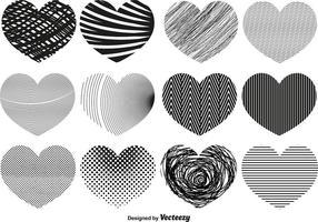 Vetor Corações abstratos de diferentes texturas
