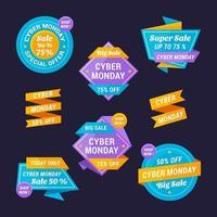 coleção de etiquetas de venda de segunda-feira cibernética vetor