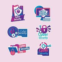 Adesivo colorido do dia da segurança cibernética
