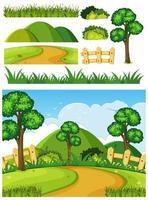 conjunto de objetos para cena da natureza