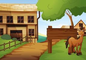 oeste da cidade velha com cavalo na estrada vetor