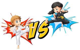 duas meninas lutando caratê vetor