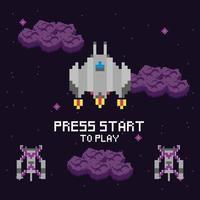 cena espacial do videogame com mensagem para iniciar