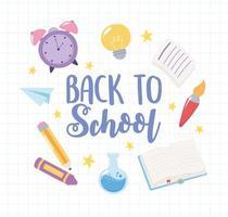 de volta à escola. relógio, giz de cera, lápis e livro