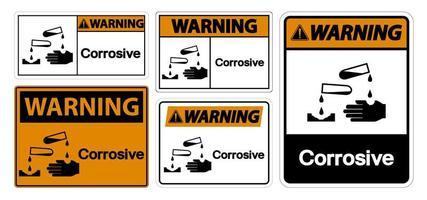 sinal de símbolo de advertência corrosivo vetor