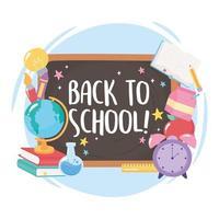 de volta à escola. quadro-negro, globo, livros e lápis