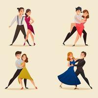 par de dança retro cartoon conjunto vetor