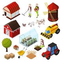 Conjunto de ícones isométricos de produtos de agricultura orgânica