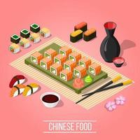 sushi isométrico e maki