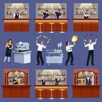 Conjunto de preparação de coquetel para barman vetor