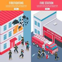banners isométricos de bombeiro vetor