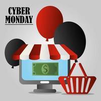 cyber segunda-feira. computador, cesta de compras, balões e dinheiro