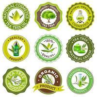 conjunto de emblema da árvore do chá