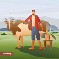 fazendeiro jardineiro com vaca vetor