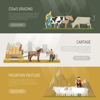 banners de animais de fazenda