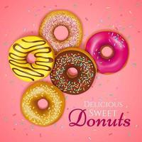 pôster de donuts doces vetor