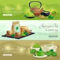banners horizontais de chá matcha