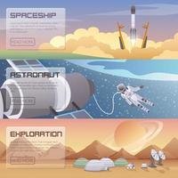 banners planas de exploração espacial de astronautas