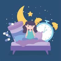 insônia. menina na cama com remédio e relógio