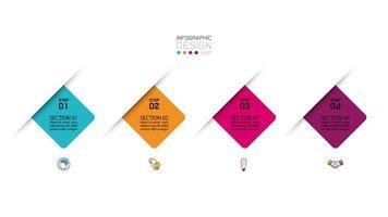 apresentação de infográficos modernos em 4 etapas vetor