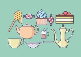 Coleção de ícones do tempo do chá vetor