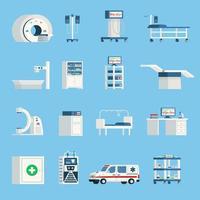 ícones ortogonais de hospital vetor