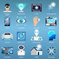 conjunto de robô de tecnologia do futuro