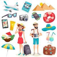 conjunto de viagens de férias de verão