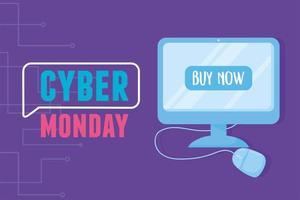 cyber segunda-feira. monitor de computador e dispositivo de mouse