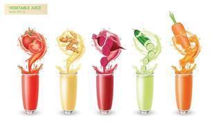 conjunto realista de suco de vegetais frescos