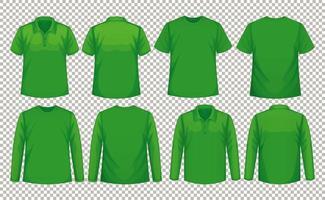 conjunto de diferentes tipos de camisa na mesma cor vetor