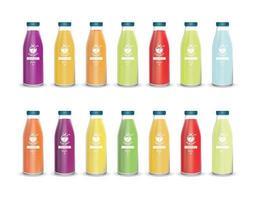 conjunto de garrafas de vidro com diferentes sucos de frutas