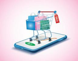 conceito de compras online com smartphone vetor