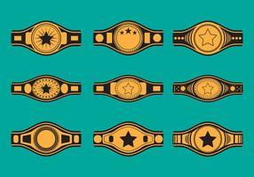 Conjunto de ícones do cinto de campeonato vetor