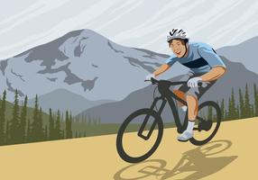Trail bicicleta em um vetor de montanha