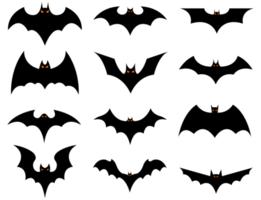 conjunto de morcegos de halloween vetor