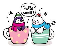 animais fofos dizendo olá para o inverno