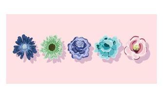 ornamento de decoração de flores delicadas. design floral da natureza vetor